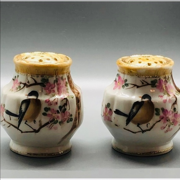 Nippon Other - Antique Imperial Nippon Salt Pepper Bird Flowers